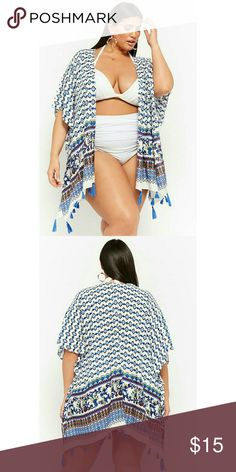 54210d9bf4153f Forever 21 Plus Tribal Print Swim Coverup Kimono One Size can be worn as  swimsuit coverup or as a kimono with jeans or leggings. Runs small.