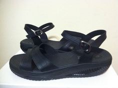 Skechers Shape Ups Point Five Jamaica Fab Fit Black Leather Women's Sandals 6 M #SKECHERS #StrappyFlatsComfortSandals