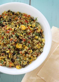 Southwestern Black Bean, Quinoa and Mango Medley - you can serve this as a side dish or even enjoy it as a main course!  #weightwatchers