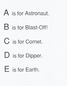 ABC space words cute poem & song too!