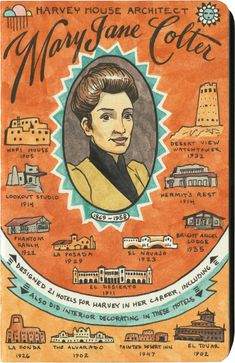 Harvey House and Mary Colter sketch by Chandler O'Leary Harvey House, Breaking Boundaries, Harvey Girls, Santa Fe Trail, Old Pottery, Career Goals, Tutti Frutti, Mosaic Glass, New Mexico