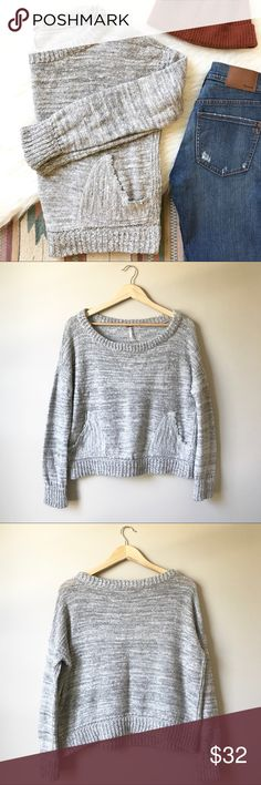 "• FREE PEOPLE heathered gray woven sweater • Soft woven white and gray heathered fabric. Slouchy fit and pocket detail on the front! Scoop neck. Bust: 23"" Lengh: 20"" wear this over you favorite jeans for a relaxed look! This could easily fit anywhere from a x small - medium depending on fit preference! No flaws at all! Free People Sweaters Crew & Scoop Necks"