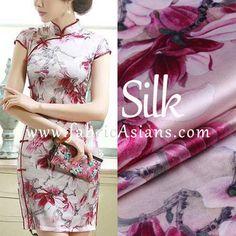 "Pink Floral Chinese Silk. Pink Floral Silk. Digital Printed Silk. Stretch Satin. 42"" wide. 19momme. SSB100641"
