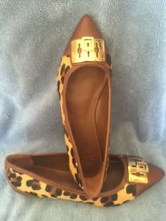 Tory Burch Celina Calf Hair Brown Leopard Flats