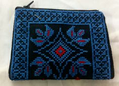 Cross stitch money/coin wallet, small size- Blue Color Size: approx 12 *18 cm Price: $ 18  each