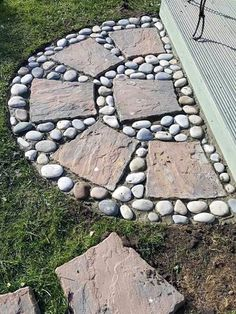Landscaping With Rocks, Outdoor Landscaping, Front Yard Landscaping, Outdoor Gardens, Gardening With Rocks, Decorative Rock Landscaping, River Rock Landscaping, Garden Yard Ideas, Garden Crafts