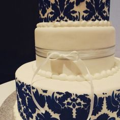 Damask wedding cake made today