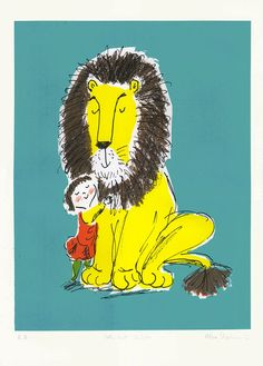 Screenprint based on the book How to Hide a Lion, written and illustrated by Helen Stephens. The book was longlisted for the Kate Greenaway Medal,