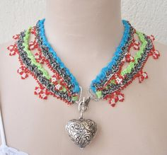 Beaded Turkish Oya necklaceorganza ribbon by Huchis on Etsy, $35.00