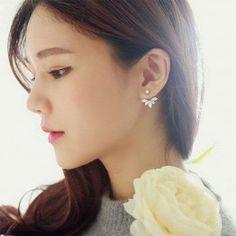 Earrings Fashion Jewelry Flower Summer Crystal Front And Back Ear Jacket Stud Earring Cuff Earrings, Rhinestone Earrings, Flower Earrings, Statement Earrings, Crystal Rhinestone, Silver Earrings, Silver Jewelry, Crystal Earrings, Diamond Jewelry