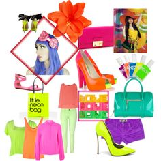 Neon love, created by musicforlife96.polyvore.com   colorful, just the way my baby girl likes