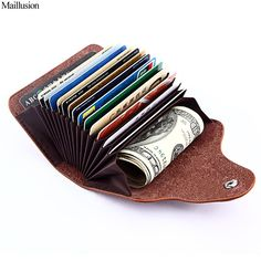 RFID Genuine Leather Unisex Business Card Holder Wallet Men And Women Bank Credit Card Case ID Holders Female Purse #bank #business #Card #Case #credit #Female #genuine #holder #holders #leather #men #purse #RFID #Unisex #wallet #women Small Coin Purse, Small Wallet, Black Wallet, Bags Travel, Man Purse, Minimalist Wallet, Credit Card Wallet, Credit Cards, Credit Score
