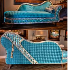 """Hand painted, original turquoise chaise with corset detail. Comes with matching chair and 12 mixed media corresponding paintings. Part of an """"Art-Chair Project"""" at shonnawellsart.com"""