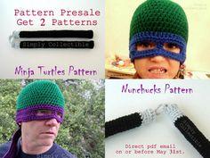 Crochet Pattern Ninja Turtles Hat & Nunchucks Set - PRESALE by SimplyCollectible on Etsy
