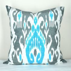 Pillow cover Ikat- Fabric hand loomed- 20 x 20 inch. $24.99, via Etsy.