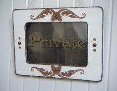 Shabby chic vintage style Private door sign antiqued mirror in white and gold. Great for work or home or anywhere you want to claim some privacy! Just simply hang on your door to keep others out!