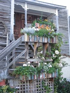 Bookshelf Planter Boxes::The alley at the back of Moonraker Books in Langley, WA. On Whidbey Island Planter Boxes, Planters, Whidbey Island Washington, Pilgrimage, Washington State, Pacific Northwest, North West, Container Gardening, Perfect Place