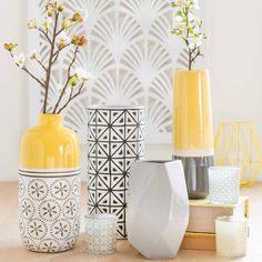 Hohe Vase aus Steinzeug, gelb/grau, ...