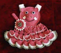 Baby Girl Crochet Pattern Piggie Pinafore by SugarToeBabies