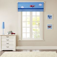Mi Zone Kids Airplane Zone Printed and Applique Valance (50x18-Blue), Blue (All Polyester, Novelty)