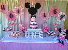 Simple Minnie Mouse dessert table we did for our cousins first birthday!