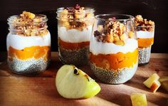Try Katie's Pumpkin Chia Yogurt Parfait! Plant Based Recipes, Raw Food Recipes, Snack Recipes, Yogurt Breakfast, Yogurt Parfait, Lunches And Dinners, No Cook Meals, Chai, Natural Health