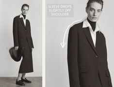 The Pre Fall 2020 collection from The Row featured barely dropped shoulders that were carefully shaped for a soft silhouette. Shoulder Cut, Off The Shoulder, Oversized Jacket, Back Off, Jacket Pattern, Pattern Making, The Row, Suit Jacket, Silhouette