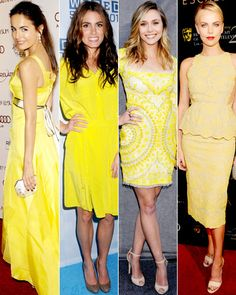 #CamillaBelle, #NikkiReed, #ElizabethOlsen and #CharlizeTheron bring yellow to the red carpet! http://www.instyle.com/instyle/package/general/photos/0,,20578553_20576651_21129694,00.html