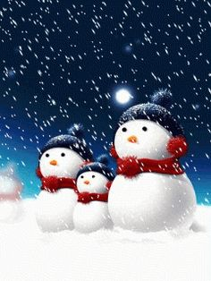 Art in Motion ~ Cute Snowmen in Red, White and Blue