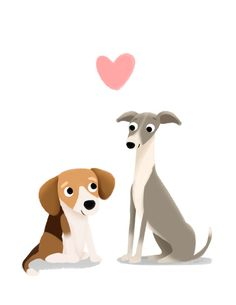The Unlikely Pair - Cute Dog Series Art Print