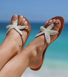 ec601a65dad4 Starfish White Leather Beaded Sandals by Aspiga Crochet Sandals