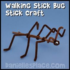 Walking Stick Craft from www.daniellesplac… - Walking Stick Craft from www. Toddler Art Projects, Preschool Projects, Daycare Crafts, Crafts For Kids, Twig Crafts, Insect Crafts, Craft Stick Crafts, Walking Stick Bug, Insect Activities