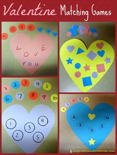 Valentine Matching Games - Practice matching shapes, numbers, letters, words, and names.
