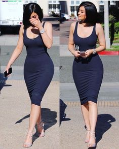 Looking for this navy blue bodycon dress that Kylie Jenner is wearing Kylie Jenner Outfits, Kylie Jenner Jewelry, Kylie Jenner Mode, Kendall And Kylie, Sexy Dresses, Dresses For Sale, Dress Sale, Midi Dresses, Estilo Kylie Jenner