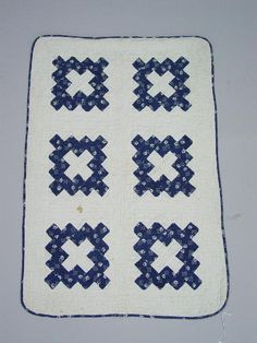 """PIECED DOLL QUILT. Chimney Sweep in blue calico and white.  """"May 1885"""", 20 x 30 1/2"""", Garth's Auction, Live Auctioneers"""