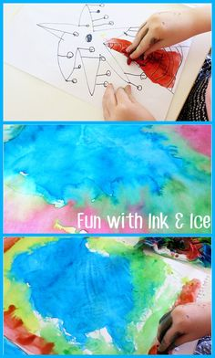 Creating with permanent markers and ice paints, great for toddlers and preschoolers.