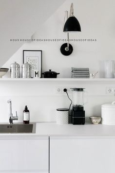 Ideal scandinavian kitchen in black and white