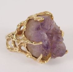 Gold 14K raw amethyst crystal ring in custom openwork freeform prong setting. | Antique Helper