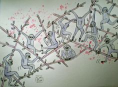 Gibbons in Bewegung Watercolor, Painting Art