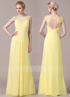 [£ 101.00] A-Line/Princess Scoop Neck Floor-Length Chiffon Bridesmaid Dress With Ruffle Lace (007059436)