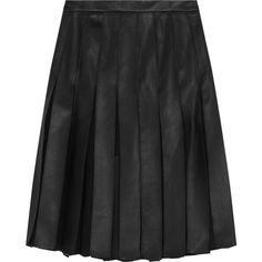 DIANE VON FURSTENBERG   Melita leather and chiffon-paneled skirt ($470) ❤ liked on Polyvore featuring skirts, mini skirts, genuine leather skirt, diane von furstenberg, real leather mini skirt, real leather skirt and diane von furstenberg skirt