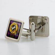 Steel cufflinks set with resin domed crest and tartan - only from ScotClans. The cufflinks are set with a resin domed cabochon with the chosen crest. Set comes in a metallic finish box.