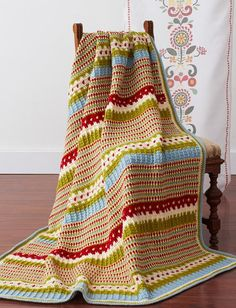 "Swedish Countryside Afghan ~ intermediate level ~ UPDATED APRIL 3, 2017 ~ finished size 53"" x 58"" ~ FREE - CROCHT ~ very pretty!"