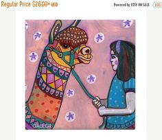 45% Off Today- Llama Tile Ceramic Coaster Print of painting by Heather Galler Gift