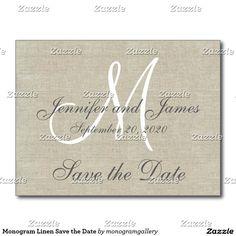 Monogram Linen Save the Date Postcard