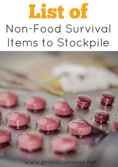 List of Non-Food Survival Items to Stockpile for emergency preparedness. sorry to break it to you: stockpiling food isn't going to be enough to get you through a long-term disaster. Here is a list of non-food items you will also need to stockpile. Survival Items, Survival Supplies, Emergency Supplies, Survival Prepping, Survival Skills, Survival Gear, Survival Hacks, Emergency Kits, Doomsday Prepping