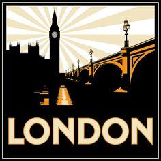 Art Deco London / Big Ben / London Bridge / UK / Great Britain / England Poster Print, decor for the home London Poster, London Art, Retro Poster, Poster S, Poster Ideas, Art Deco Typography, Art Nouveau, Kunst Poster, Art Deco Posters