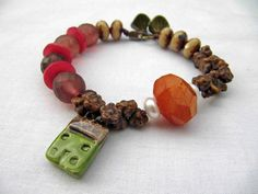 House in the clearing - handmade bracelet, beaded bracelet, art bead bracelet, house bracelet, autumnal bracelet