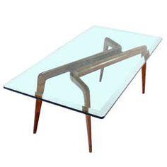 Walnut Base and Glass-Top, Mid-Century Italian Modern Coffee Table