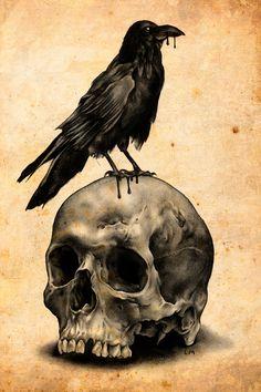 Skulls: #Skull & Raven, Art Print by Leonmorley.